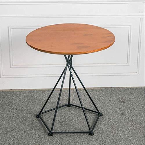 NSYNSY Tavolini per sedie, tavolino da caffè Tavolino Laterale in Legno con gambe in Metallo, soggiorno Cafe Hall Rotondo, 55 * 55 * 50 CM (Colore: B)