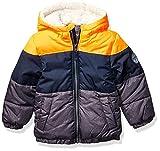 Osh Kosh Boys' Toddler Heavyweight Winter Jacket with Sherpa Lining, Orange Color Block Trio, 2T