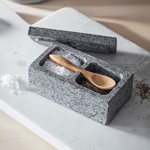 Ckb Ltd Salz- und Pfefferbox aus Granit, mit Bambuslöffel, Steinbox mit Deckel für Kräuter und Gewürze, Küchenset