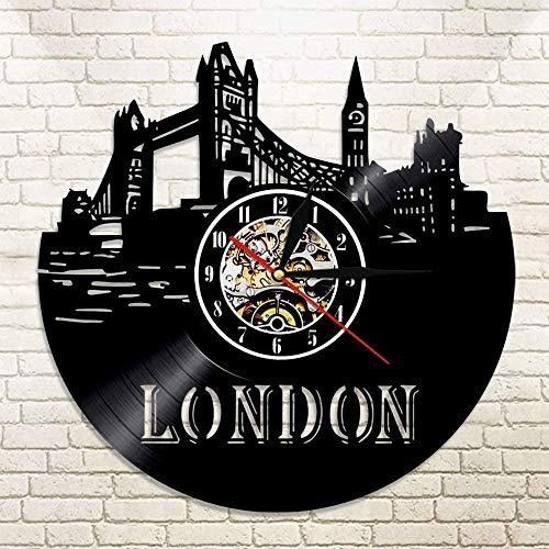 TIANZly Fashion L Vinyl Record Reloj de Pared Reino Unido Gran Bretaña Inglaterra Londres City Skyline Wall Decor England Big Ben Travel Gift Clock
