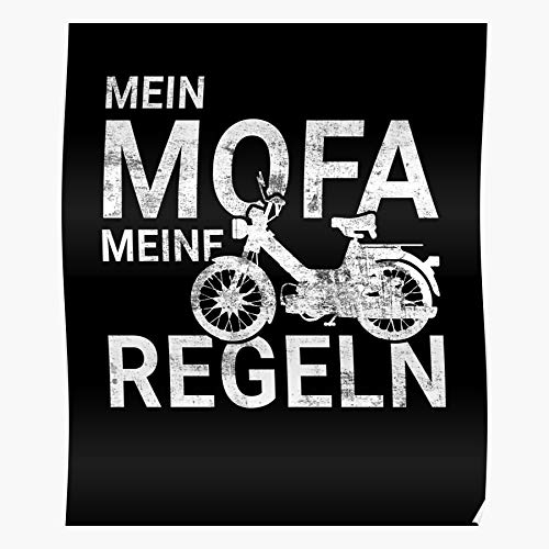 Rider Pillion Moped Bicycle Motorbike Wheeler Two Moto Scooter Biker I Fsgteam- Impressive and Trendy Poster Print decor Wall or Desk Mount Options