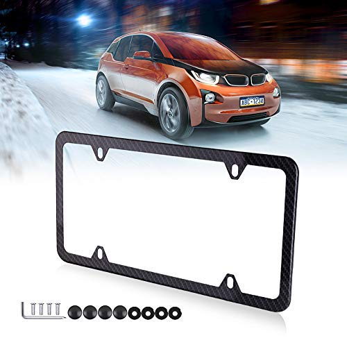 cciyu License Plates Frames Carbon Fiber Style for Front Rear Car Bottom License Plate Frames 1Pcs 4 Holes Black Licenses Plate Covers for US Vehicles