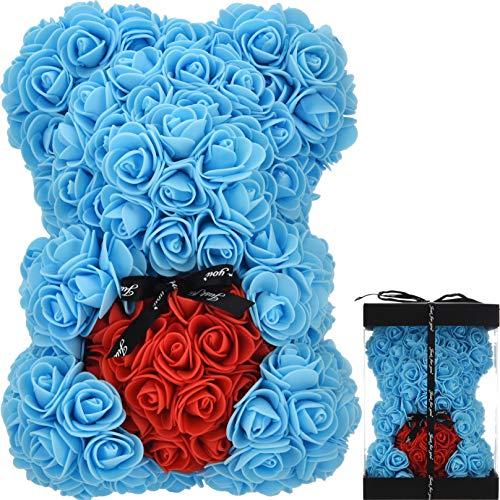 Rosenbär Rosen teddybär - Geschenke für Frauen Geburtstagsgeschenk für Mutter für Ihre Rosen Künstliche Rosenblume Bär Rose Teddybär Rosen bär Jubiläum Valentinstag - Rosenbär mit Box (Blau)