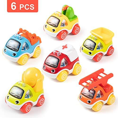 Comius Sharp Juguetes para bebé, 6 Piezas Juguete Coches para niños pequeños, Vehículos Camiones De Juguete, Tire hacia Atrás el Coche de Juguetes para niños y niñas de 1, 2, 3 años ( Coches)