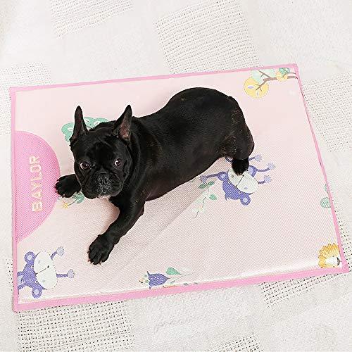 TOMSSL Niedliche Ice Silk + Oxford Tuch + Schwamm Pet Seat Cool Sommer Breathable Zwinger Cool Pad Haustier Katzenstreu Isomatte Pink (Size : S)