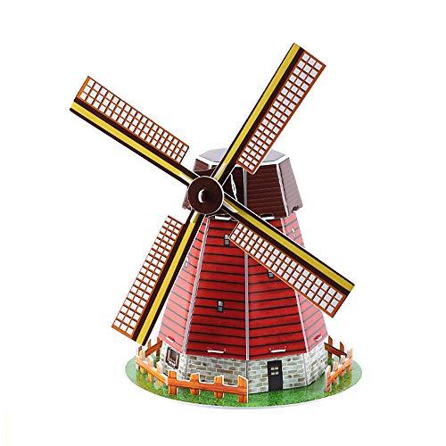 Gogogo Papier Puzzle Spielzeug Kinder pädagogische weltberühmte Gebäude Modell Holland-Windmühle