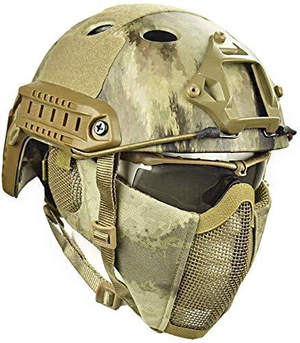 LIKEDA Airsoft Paintball Schutzhelm, Taktische Helme Mit Stahlgitter Maske CS Spiel Set 8 Farbe,A