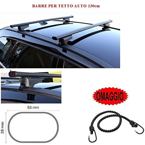 Barras para techo de coche de 130 cm para Honda Civic Tourer 5p 2015. Barra portaequipajes para raíles altos y bajos de acero + regalo