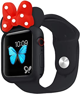 Cute Cartoon Soft Silicone Protective Frame Anti-Scratch Cover| Case Mouse Ears Compatible with Apple Watch Series 5 and Series 4 (Black - Red, 40mm)