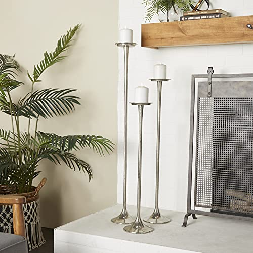 Deco 79 38037 Tall Metallic Silver Candle Holders (Set of 3), 27' x 32' x 40'