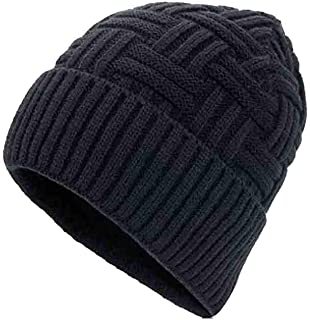 Sunny Unisex Hombres Invierno Cálido Sombreros De Punto Criss-Cross Basket Weave Acrílico Baggy Slouchy Beanie Hat Skull Cap (Color : Negro)