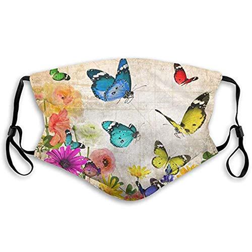 Asiluna Adult Floral Print,Blue Adjustable Protect Washable Reusable Cotton Face Cover Bandana Neck Gaiter Men Women