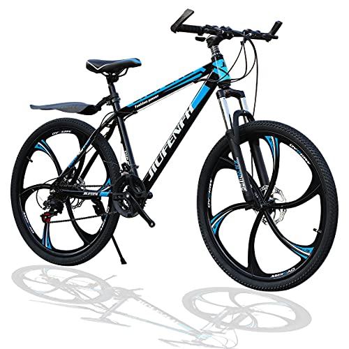 HT&PJ Bicicleta de montaña para hombre, 24 pulgadas y 21 velocidades, cuadro de acero al carbono y doble sistema de amortiguación, horquilla delantera con cerradura y frenos dobles (azul)