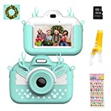 Themoemoe Kids Digital Camera Childrens Camera, Touch Screen Video Photo Camera for Kids Rechargeable Toddler Camera with Lanyard, 16G SD Card, Birthday for Girls Boys (Blue)