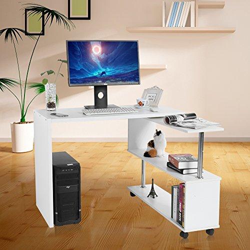 Mesa de escritorio giratoria de 360 grados para ordenador de esquina ajustable con estanterías (color blanco)