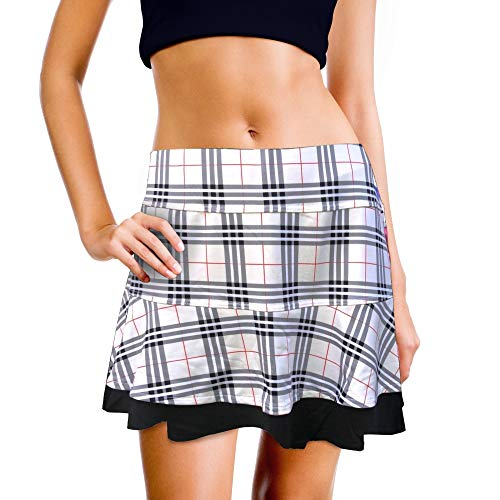 XrSzChic Womens Tennis Golf Skirt Athletic Exercise Printed Skorts Short Pocket (Tartan Black Plaid, Large)