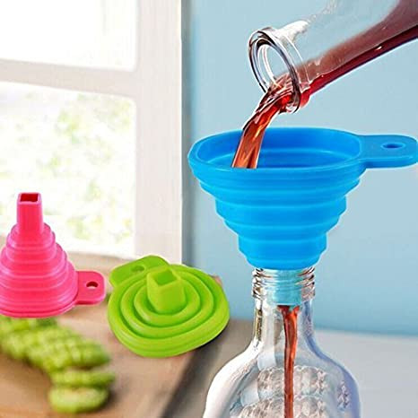 WHOLE MART® 100% Food Grade Silicone Collapsible Funnel,Funnel for Liquid Transfer As Oil,Water,Essential Oil,Shampoo,Sanitizer,Kitchen Tool Gadget