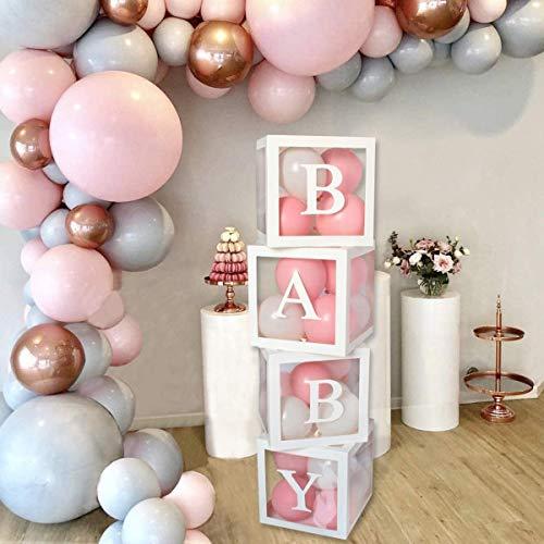4PCS Baby Ballon Boxen für Party Dekoration, Transparente Ballon Box mit Buchstaben für Thema Partyzubehör Dekoration Geburtstag für Themenpartyzubehör Dekoration / Geburtstag / Babyparty(Weiß)