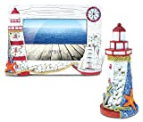Puzzled Photo Frame and Decor Red and White Lighthouse Tower - Boats/Lighthouse Theme - Set of 2 - Item #K9531-9535