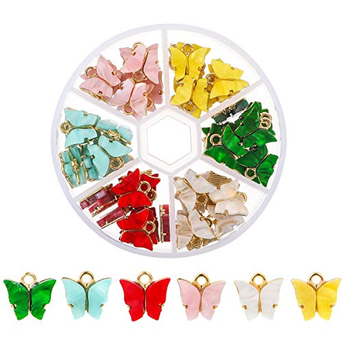 Souarts 72 PCS Butterfly Charms Butterfly Pendants for Jewelry Making DIY...