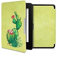 kwmobile 対応: Amazon Kindle Paperwhite (10. Gen - 2018) ケース - 電子書籍カバー PUレザー - オートスリープ Reader 保護 サボテンの花デザイン