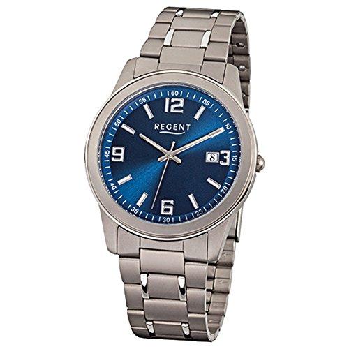 Regent Reloj de pulsera para hombre de titanio (metal), color gris plata F-840, reloj de cuarzo D2URF840, un bonito regalo para Navidad, cumpleaños, día de San Valentín para el hombre