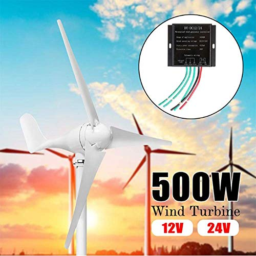 SISHUINIANHUA 500W Windgenerator + Controller-12V 24 Volt 3 Nylon-Faser-Blatt Horizontal Home Windkraftanlagen-Energien-Energie-Turbinen Lade,12v