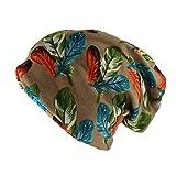 maozuzyy Cálido Sombrero De Mujer Bufanda Doble Uso Moda Gorros para Adultos Skullies Hoja Floral Otoño Sombreros Cálidos Gorras para Dama 52-60Cm Oro