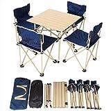 HHRen Table Pliante en Alliage d'aluminium Portable et Pique-Nique Chaise d'extérieur Table 5 pièces Set de Table et chaises Camping Car Self-Driving Table et Chaise,Bleu