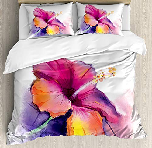 Ambesonne Flower Duvet Cover Set, Hibiscus Flower in Pastel Abstract Colorful Romantic Petal Pattern Artwork Print, Decorative 3 Piece Bedding Set with 2 Pillow Shams, King Size, Pink Tones