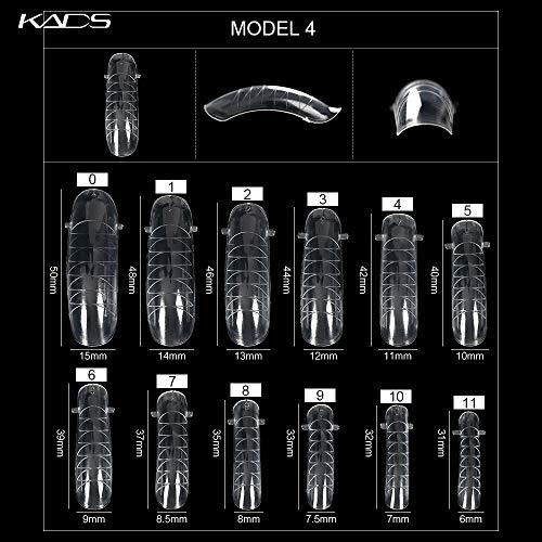 Kads Lot de 120 moules intégraux transparents, système à ongle double, pour pose de vernis ou de gel UV sur ongles artificiels acryliques, avec graduation pour extension