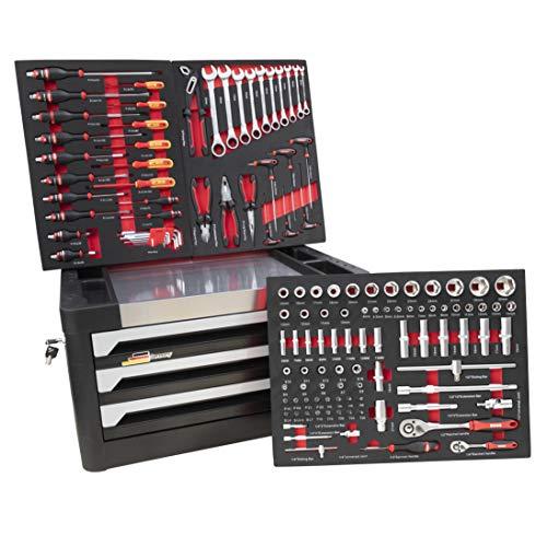 DeTec. Werkzeugkiste 3 Schubladen gefüllt mit 129 tlg. Werkzeug Sortiment - Ratschen-Set, Nüsse, Schraubendreher und vieles mehr