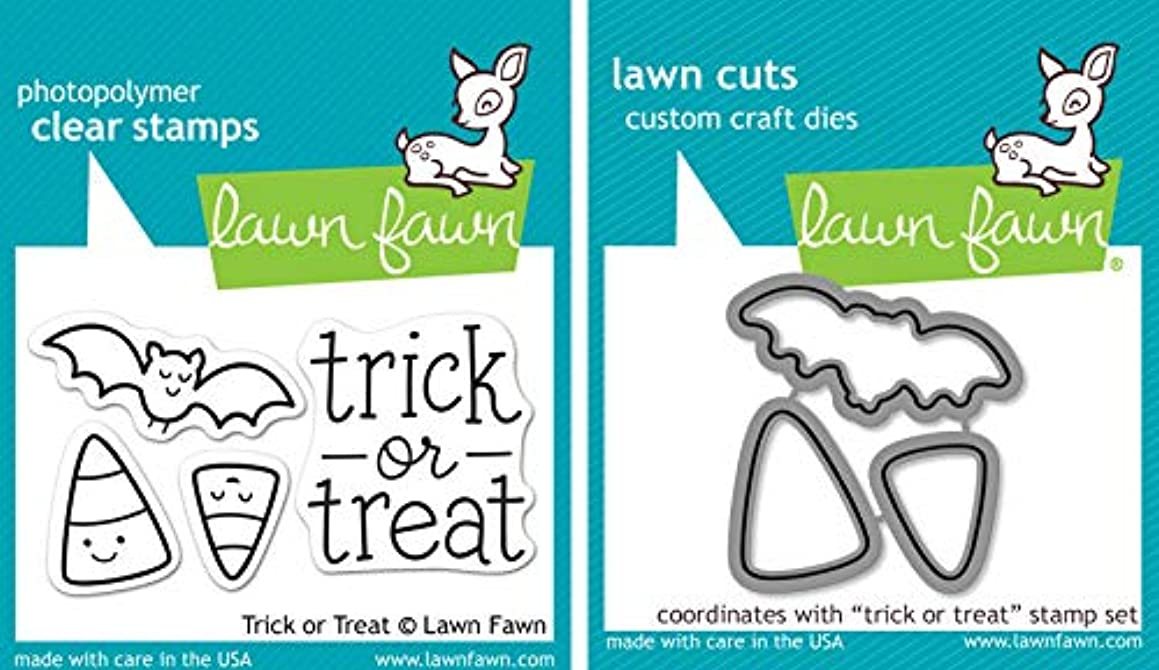 Lawn Fawn Trick Or Treat Clear Stamp and Die Set - Includes One Each of LF554 Stamp & LF967 Die - Bundle Of 2