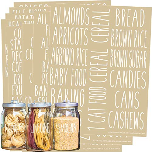 Talented Kitchen 136 White All Caps Pantry Labels – 136 Kitchen Pantry Names – White Food Label Sticker, Water Resistant Pantry Labels for Containers, Jar Labels Pantry Organization and Storage, White