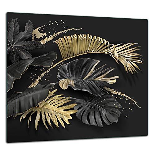 TMK | Küchenrückwand Spritzschutz aus gehärtetem Glas 65x60 cm - Dekoglas mit selbstklebendem Klebeband - Glasrückwand Küche, Gold Blumen