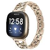 Cinturino da donna compatibile con Fitbit Versa3, bracciale in acciaio inox, cinturino regolabile, accessori per smart watch Fitbit Versa3 e Acciaio inossidabile, colore: Oro champagne