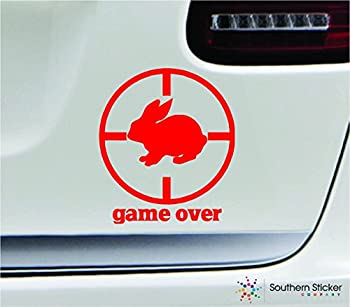 Game Over Rabbit Hunter 3.8x4.3 red Hunting Animal Gun Hunter Outdoors Humor United States Color Sticker State Decal Vinyl - Made and Shipped in USA