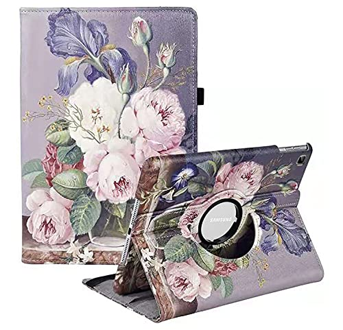 Custodia per Samsung Galaxy Tab A7 10,4  2020 (SM-T500 T505 T507), con supporto girevole a 360°, con funzione di spegnimento automatico per tablet Samsung Tab A7 (rose pittura ad olio)