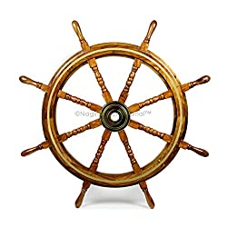 Nagina International Wooden Nautical Captain's Steering Ship Wheel with Brass Ring & Hub - Pirate Home Ocean Beach Decor Gift - Nursery Wall Hangings (36 Inches)