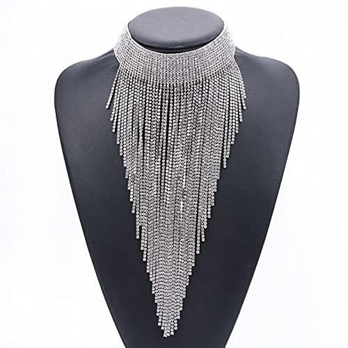 ZIJ Lujo Cadena de Rhinestone Cadena de Tassel de Tassel Mujeres Maxi Collar Largo Colgantes Joyería Boho Étnico Indio Collar Grande (Color : Plata)
