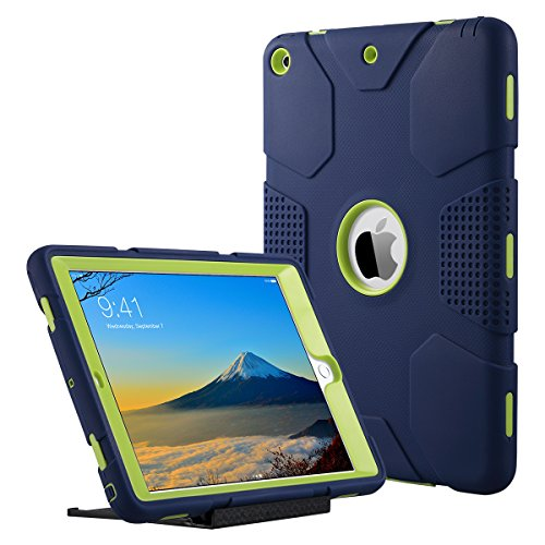 ULAK iPad 9.7 inch 2018/2017 Case, [Armor series] Heavy Duty Shockproof Protective Cover with Stand Function 3 in 1 Soft Silicone + Hard PC Case Cover for Apple iPad 9.7 inch 2018/2017 - Navy