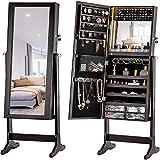 YBZS - Grande armadio per gioielli, specchio pieno a LED, in legno inclinato, con serratura, cassetto decorativo per la casa, B