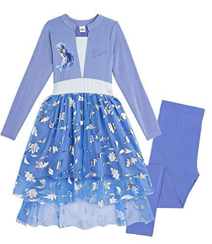 Disney Frozen 2 Vestito Bambina con Elsa Anna, Vestiti Bimba Principessa, Costume con Abito Leggings E Volant Lungo, Abbigliamento Bambine per Festa Compleanno, Carnevale (Blu Elsa, 5-6 Anni)