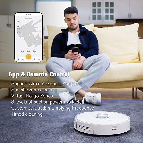 Neabot Robot Vacuum with Self-Emptying Dustbin Included, 2700Pa Strong Suction, Laser Navigation,...