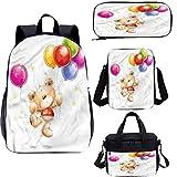 Cartoon 17 'Kids School Bookbags Set,Teddy Bear con Baloon Bookbags 4 en 1