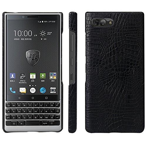 HualuBro BlackBerry KEY2 Hülle, Ultra Slim Premium Crocodile PU Leder Leather HandyHülle Tasche Schutzhülle Hülle Cover für BlackBerry Key 2 Smartphone (Schwarz)