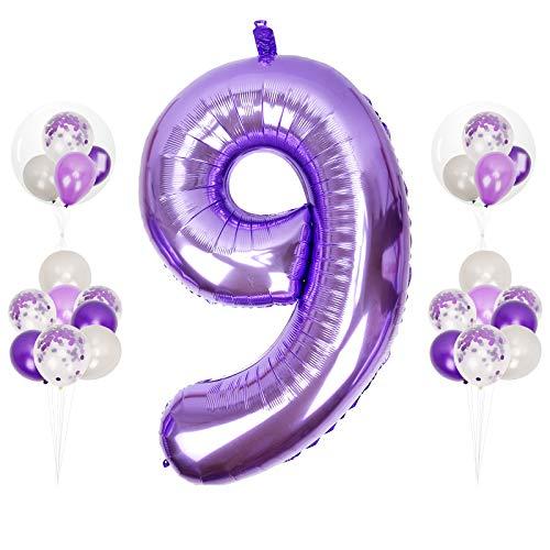 Herefun 0 to 9 Globo Número Gigante, 40inch Foil Globo Número Púrpura XXLGrande Globos Suministros de Fiesta Globo Inflable para La Boda Aniversario, Globo de Cumpleaños Fiesta Decoración (Number 9)