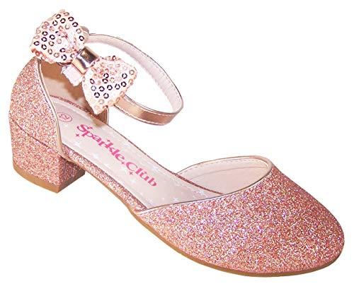Zapatos de Fiesta de tacón bajo con Purpurina y Oro Rosa para niñas, Color Dorado, Talla 33 EU