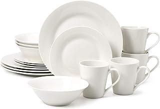 EZOWare Vajilla de Porcelana 16 Piezas, Servicio Moderna para 4 Personas, Plato Redondo, Plato para Ensalada, Cuenco, Taza, Color Blanco