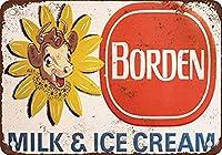 ボーデンミルクアンドアイスクリーム メタルポスタレトロなポスタ安全標識壁パネル ティンサイン注意看板壁掛けプレート警告サイン絵図ショップ食料品ショッピングモールパーキングバークラブカフェレストラントイレ公共の場ギフト